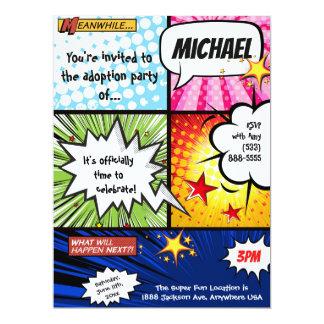 Superheld-Comic-Buch-Adoptions-Party Karte