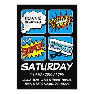 Superheld-Comic-Streifen-personalisierter 12,7 X 17,8 Cm Einladungskarte