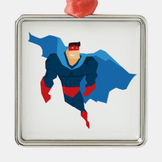 Superheld in der Aktion Silbernes Ornament