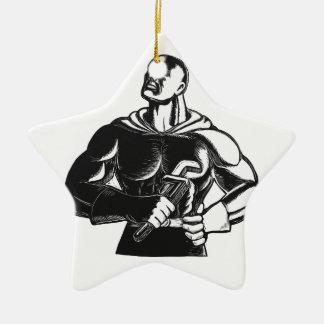 Superheld-Klempner mit Schlüssel-Holzschnitt Keramik Ornament