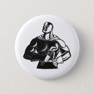 Superheld-Klempner mit Schlüssel-Holzschnitt Runder Button 5,1 Cm