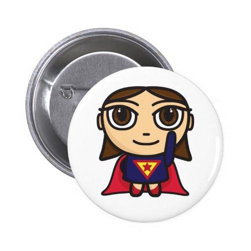 Superheld-Mädchen-Charakter Buttons