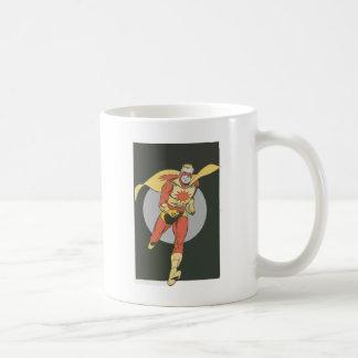 Superheld mit Explosions-Symbolbetrieb Kaffeetasse
