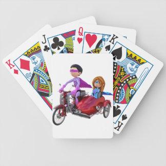 Superhelden in einem Moped mit einem Beiwagen Bicycle Spielkarten