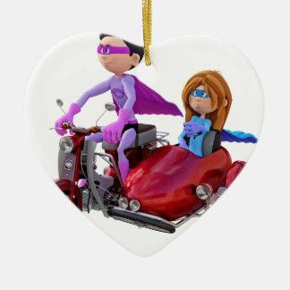 Superhelden in einem Moped mit einem Beiwagen Keramik Ornament