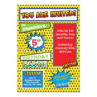 Superhero-Comic-Buch-Geburtstags-Einladung 12,7 X 17,8 Cm Einladungskarte
