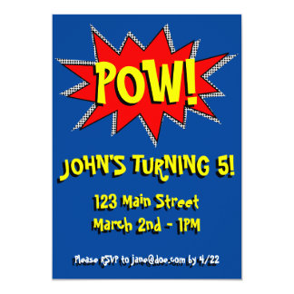 Superhero-Comic-Buch-Themed Einladungs-Schablone 12,7 X 17,8 Cm Einladungskarte