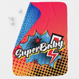 Superhero-Comicbuch SuperBABYdecken-Geschenk BLAU Babydecke