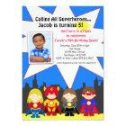 Superhero-Geburtstags-Party-Foto-Einladung Karte