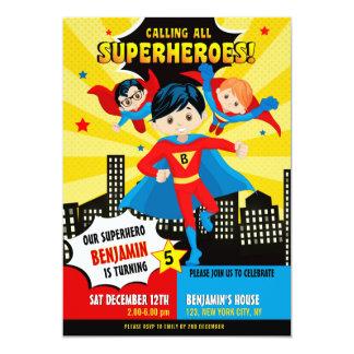 Superherojungen-Geburtstags-Party Einladung