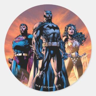 Supermann, Batman u. Wunder-Frauen-Dreiheit Runder Aufkleber