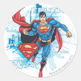 Supermann mit Logo Runder Aufkleber
