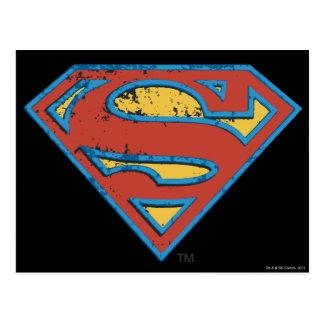 Supermann S-Schild | blaues Konturgrunge-Logo Postkarte