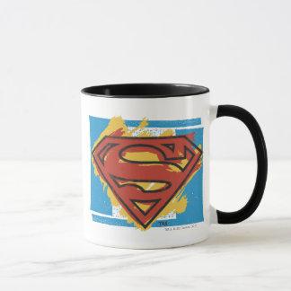 Supermann S-Schild | gemaltes blaues Tasse