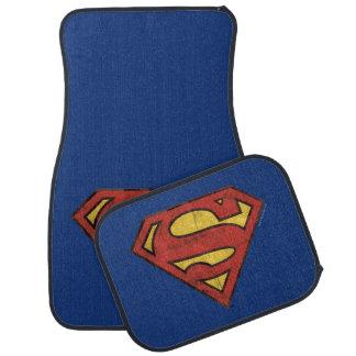 Supermann S-Schild | Grunge-Schwarz-Kontur-Logo Auto Fussmatte