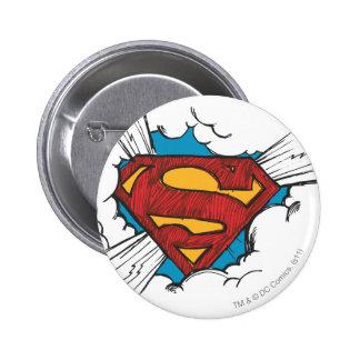 Supermann S-Schild | innerhalb des Wolken-Logos Runder Button 5,7 Cm