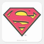 Supermann S-Schild | klassisches Logo Quadrat-Aufkleber