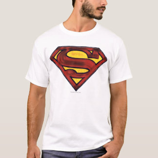 Supermann S-Schild | verdunkeltes rotes Logo T-Shirt