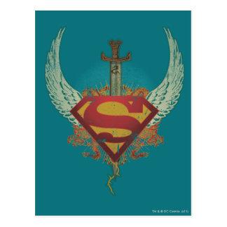 Supermann Stylized | Flügel-aquamarines Postkarte