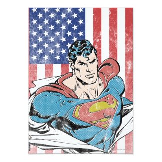Supermann u. US-Flagge Personalisierte Einladung