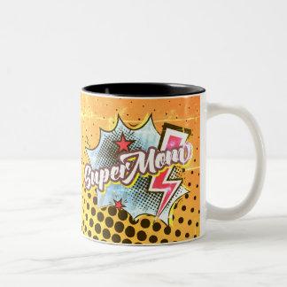 SuperMOM-Kaffee-Tassen-Comic Superhero fasst Zweifarbige Tasse