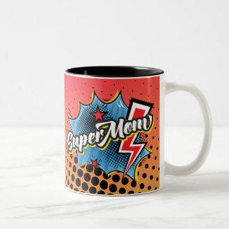 SuperMOM-Kaffee-/Tee-Tassen-Comic Superherowörter Zweifarbige Tasse