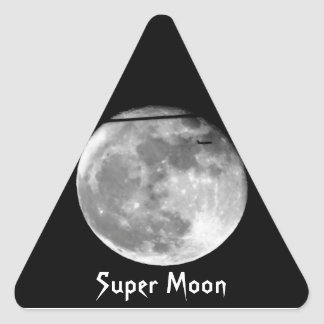 Supermond mit dem Flugzeug Dreieckiger Aufkleber