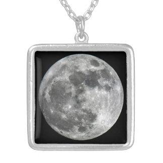 Supermoon Mond-Halskette Versilberte Kette