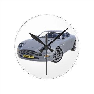 Superspions-Auto im Silber Runde Wanduhr