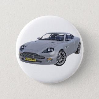 Superspions-Auto im Silber Runder Button 5,1 Cm