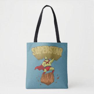 Superstar-Gelb-Stern-Superheld auf einem Rock Tasche