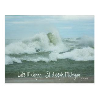 Superstorm Sandy bewegt auf Michigansee-Postkarte Postkarte