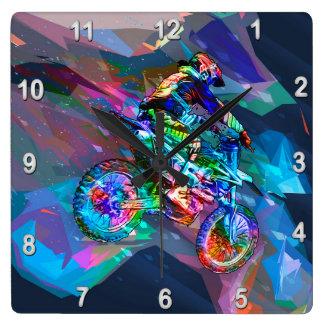 Superzeichenstift farbiges Schmutz-Fahrrad Quadratische Wanduhr