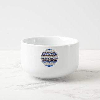 Suppen-Tasse mit blauem Mosaik Große Suppentasse