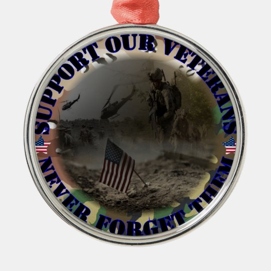Support our Veterans ... USA Silbernes Ornament