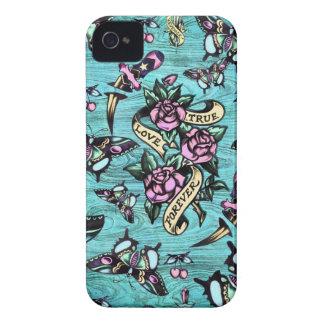 Surfabilly Tätowierungs-Ikonen-Muster auf iPhone 4 Cover
