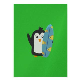 Surfbrett-Pinguin 14 X 19,5 Cm Einladungskarte