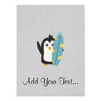 Surfbrett-Pinguin 16,5 X 22,2 Cm Einladungskarte