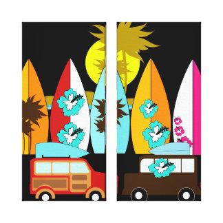 Surfbrett-Strandwertlos surfende Hippie-Packwagen Leinwanddrucke