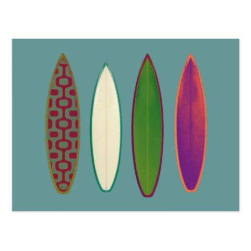 Surfbretter ~ surfende Art Postkarte