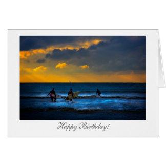 Surfen am Sonnenuntergang - alles Gute zum Karte