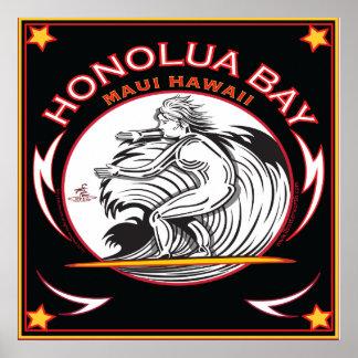 SURFEN HONOLUA BUCHT-MAUI-HAWAII POSTER