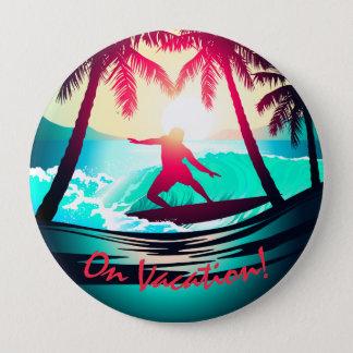 Surfen mit Palmen Runder Button 10,2 Cm