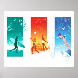 Surfen, Strand-Volleyball, schwimmend für Poster