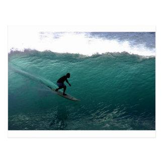 Surfende grüne Welle Bali Postkarte