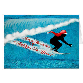 Surfende Sankt-Weihnachtskarte Grußkarte