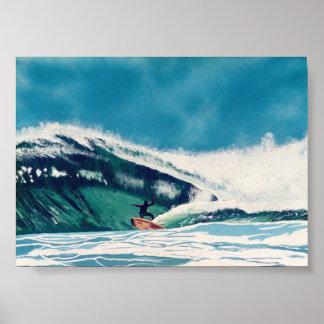 Surfende Surfer-grünes Seewellen-Baja- Californiak Poster