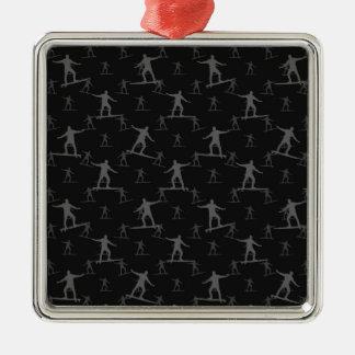 Surfendes Motiv-Muster Quadratisches Silberfarbenes Ornament