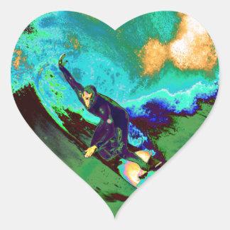 Surfer2 Herz-Aufkleber