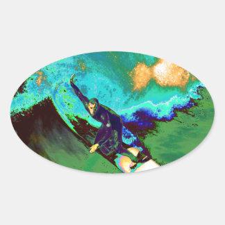Surfer2 Ovaler Aufkleber